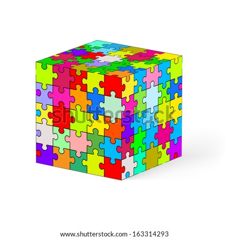 Cube made of colorful puzzle elements. Illustration on white background.   - stock vector