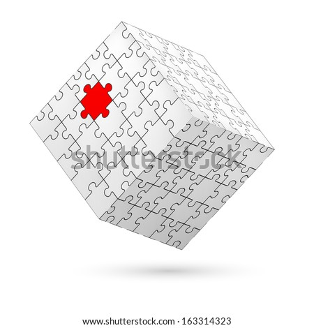 Cube made of white puzzle elements with one red piece. Illustration on white background.   - stock vector