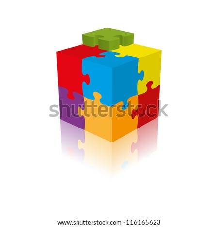 Cube puzzle, vector, 3d with a reflection - stock vector