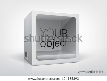 Cube-shaped package with a transparent plastic window for new design and your product inside. Eps10 vector, you can change colors. - stock vector