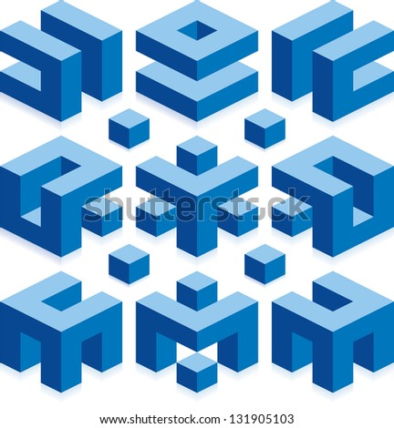 Cube Vector Elements for Construction - stock vector