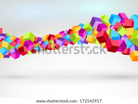 Cubes forming colorful swoosh wave. Vector illustration - stock vector