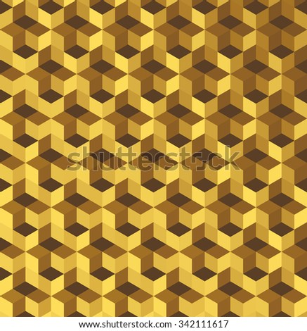 Cubic colorful Pattern. Golden background. Grid Pattern. Abstract colorful Background. Isometric background. Holidays background. Geometric pattern.  Geometric Texture. Vector regular Texture. - stock vector