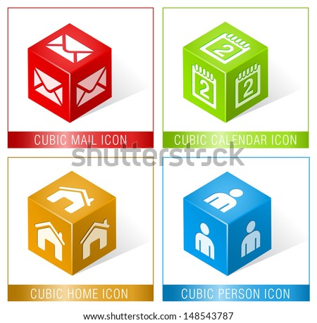 CUBIC MAIL, CALENDAR, HOME AND PERSON ICONS / Set of three dimensional icons  - stock vector