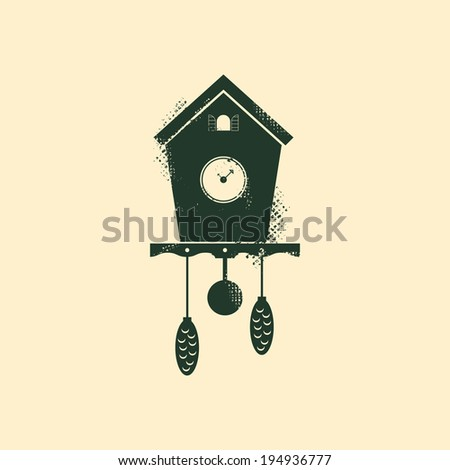 Cuckoo clock, with grunge texture. Old clock, with pendulum and conifer cones. Isolated vintage clock, on simple background. Retro style object. Easy to edit. Vector illustration - EPS10. - stock vector