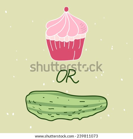 Cucumber or Cake. Illustration - stock vector