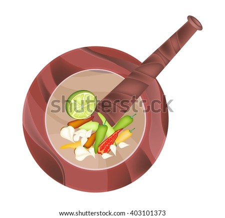 Cuisine and Food, Chili, Garlic and Lime in Wooden Stone Mortar Isolated on White Background. - stock vector