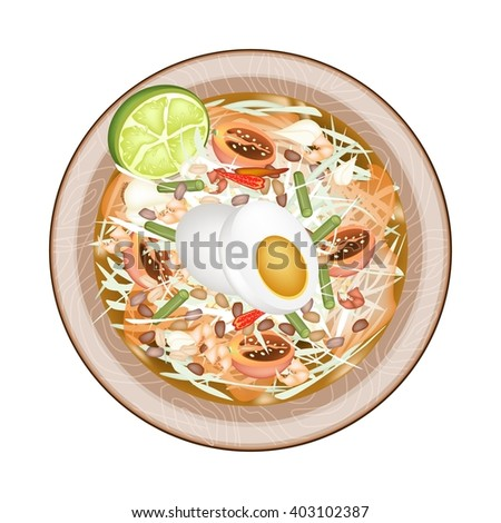 Cuisine and Food, Plate of Green Papaya Salad with Fermented Salted Egg. One of The Most Popular Dish in Thailand. - stock vector