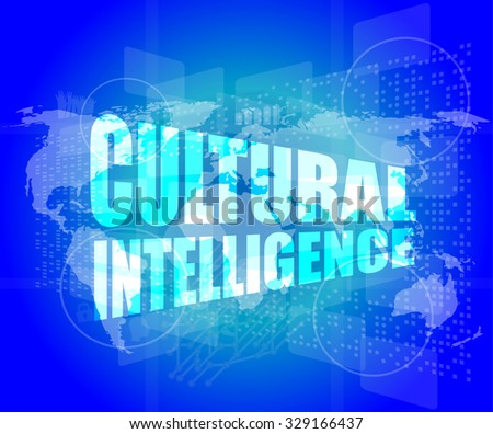 cultural intelligence words on digital screen with world map vector illustration - stock vector