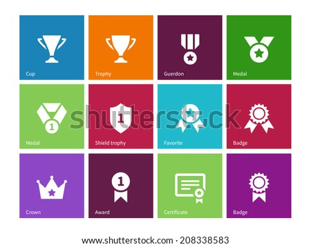 Cup and awards icons on color background. Vector illustration. - stock vector