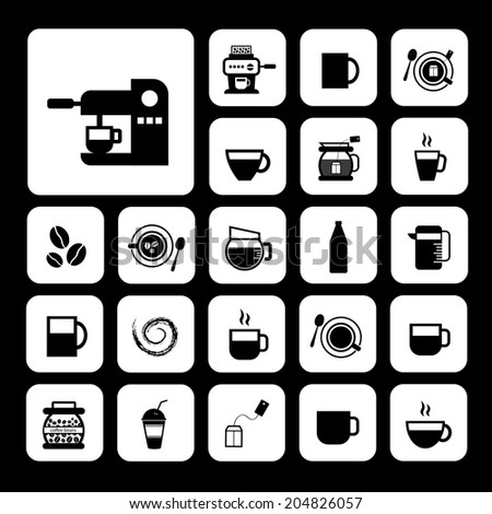 cup and coffee vector icon set    - stock vector