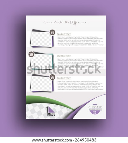 Cup Cake Back Front Flyer Template - stock vector