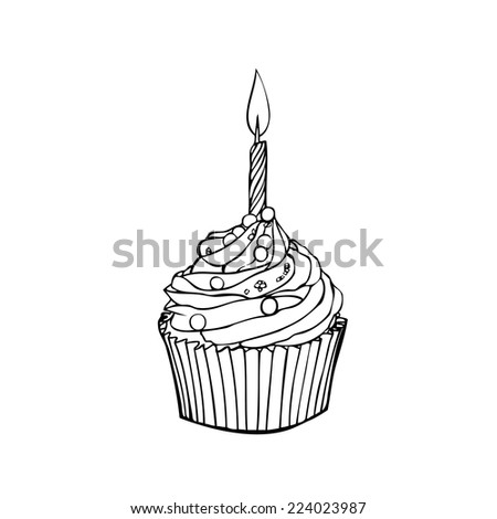 Cup cake with light candle vector - stock vector