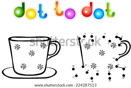 Cup first dot to dot coloring book. Vector illustration for children - stock vector