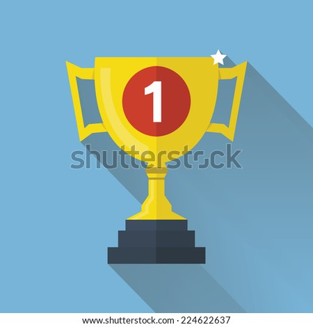 Cup Flat Icon with Long Shadow - stock vector
