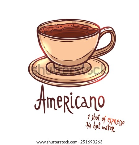 cup of Americano Coffee on white background with typography, hand drawn illustration - stock vector