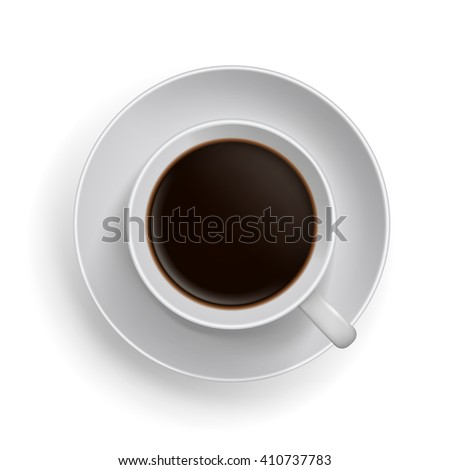 Cup of black coffee. Realistic top-view vector illustration. - stock vector