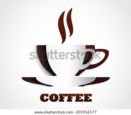 cup of ceffee shape cut out of paper / vector illustration eps10 - stock vector