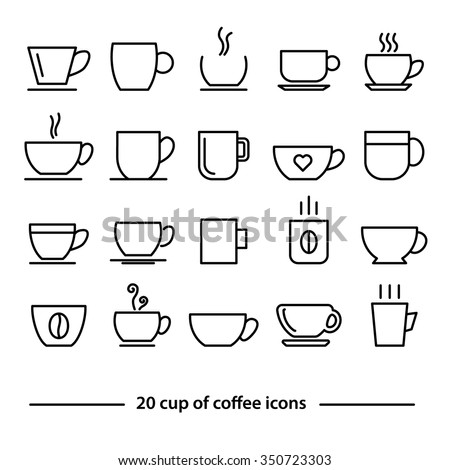 cup of coffe icons - stock vector
