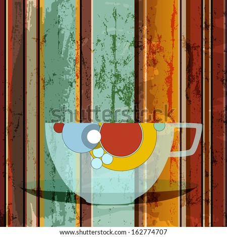 cup of coffee, abstract background with strokes and splashes, menu design template - stock vector