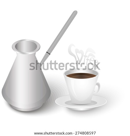cup of coffee and a turk - stock vector