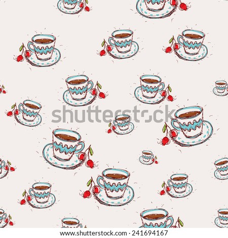 Cup of coffee and cherry Hand drawn sketch on pink background. seamless pattern vector - stock vector