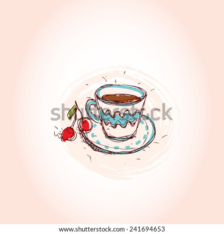 Cup of coffee and cherry Hand drawn sketch on pink background. vector - stock vector