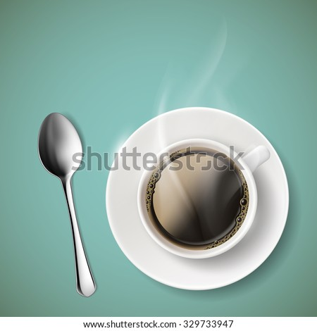 Cup of coffee and spoon. Stock vector illustration. - stock vector