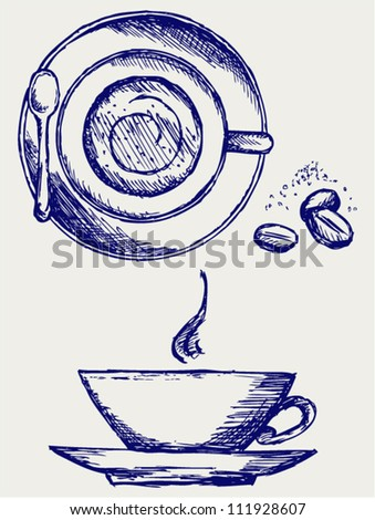 Cup of coffee. Doodle style - stock vector