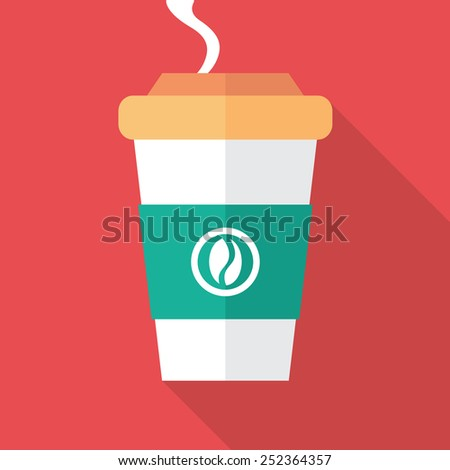 Cup of coffee for take away. Flat icon design. - stock vector