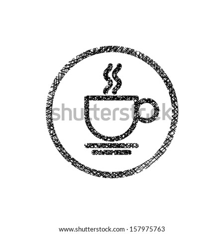 Cup of coffee icon with hand drawn lines texture. - stock vector