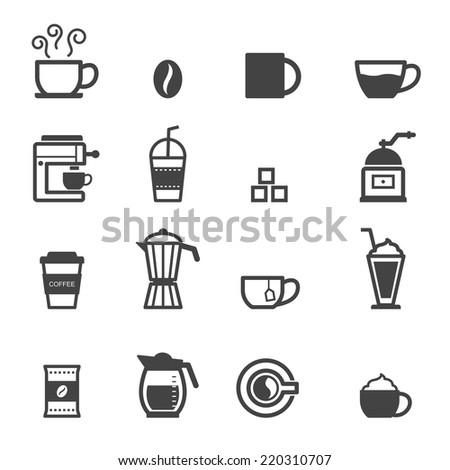 cup of coffee icons, mono vector symbols - stock vector