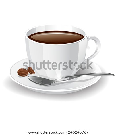 cup of coffee on a white background - stock vector