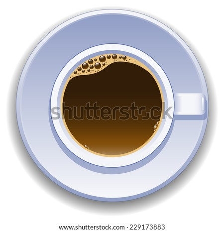 Cup of coffee on a white background. View from the top. - stock vector