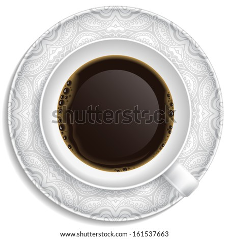 Cup of coffee on saucer. Top view. In vector. - stock vector