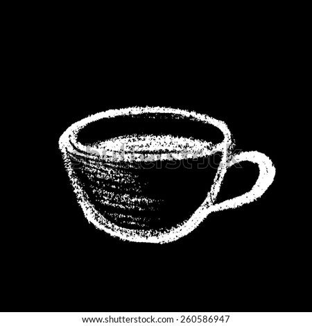 Cup of coffee or tea, drawing with chalk on black board - stock vector