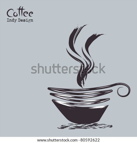 Cup of coffee with abstract design elements. Vector EPS 10 - stock vector