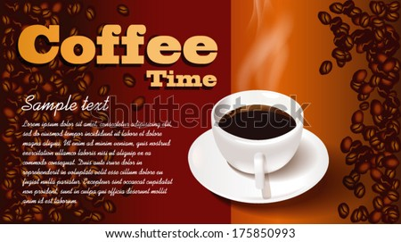 Cup of coffee with coffee beans on background - stock vector