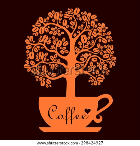Cup of coffee with Coffee tree. vector illustration - stock vector