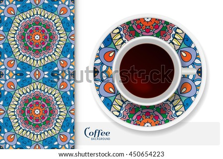 Cup of coffee with colorful ornament on a saucer and vertical seamless floral geometric pattern. Business coffee break concept, interior design background. Isolated coffee cup and plate decor elements - stock vector