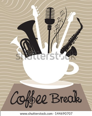 cup of coffee with different musical instruments - stock vector