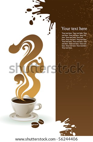 Cup of coffee with grange background. - stock vector