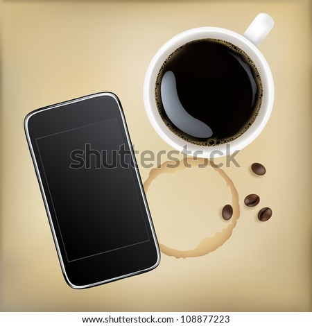 Cup Of Coffee With Mobile Phone, Vector Illustration - stock vector