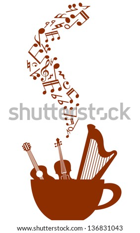 Cup of coffee with musical elements for any art design. Jpeg (bitmap) version also available in gallery - stock vector
