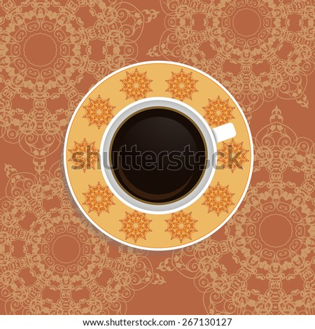 Cup of coffee with ornate eastern elements. - stock vector