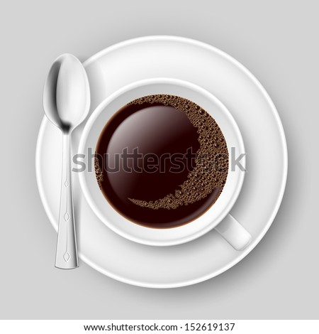 Cup of coffee with spoon on saucer. Top view. Illustration on grey background. - stock vector