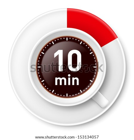 Cup of coffee with time limit for break: ten minutes. Illustration on white background. - stock vector