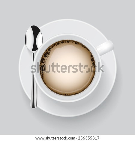 Cup of fresh coffee vector. - stock vector