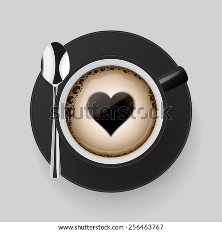Cup of fresh coffee with heart symbol. - stock vector