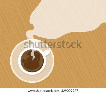 cup of fresh espresso on table, view from above - stock vector